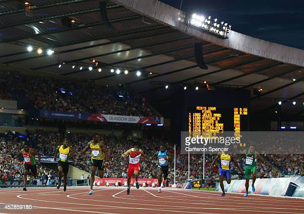 Bronze medalist Nickel Ashmeade of Jamaica Antoine Adams of St Kitts and Nevis Jason Livermore of Jamaica Gold medalist Kemar BaileyCole of Jamaica...