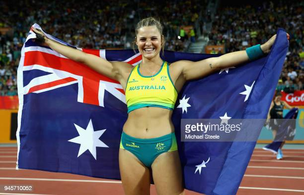 Bronze medalist Nina Kennedy of Australia celebrates after the Women's Pole Vault during athletics on day nine of the Gold Coast 2018 Commonwealth...