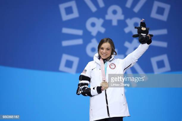 Bronze Medalist Oksana Masters of the United States pose during the victory ceremony of Women's Cross Country 12km Sitting event during day two of...