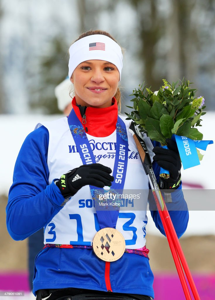 Bronze medalist Oksana Masters of the United States poses during the medal ceremony for the Women's Cross Country 5km - Sitting on day nine of the Sochi 2014 Paralympic Winter Games at Laura Cross-country Ski and Biathlon Center on March 16, 2014 in Sochi, Russia.