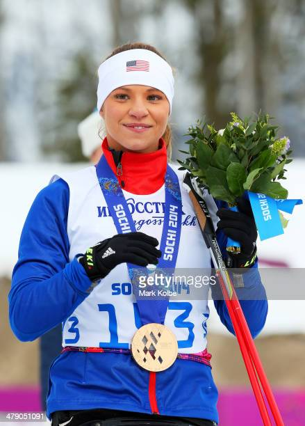 Bronze medalist Oksana Masters of the United States poses during the medal ceremony for the Women's Cross Country 5km Sitting on day nine of the...