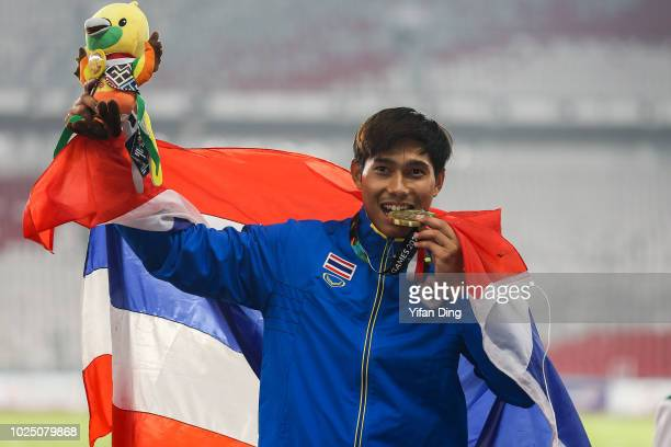 Bronze medalist Patsapong Amsam Ang of Thailand during Athletics MenÕs Pole Vault medal ceremony at GBK Main Stadium on day eleven of the Asian Games...