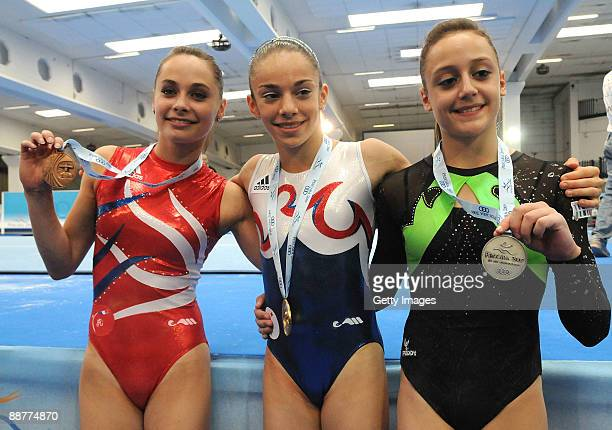 Bronze medalist Pauline Morel of France gold medalist Youna Dufournet of France and silver medalist Elisabetta Preziosa of Italy pose with their...