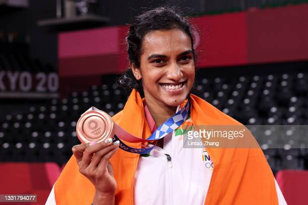 Bronze medalist Pusarla V. Sindhu of Team India poses for camera with her medal during the medal ceremony for the Women's Singles badminton event on...