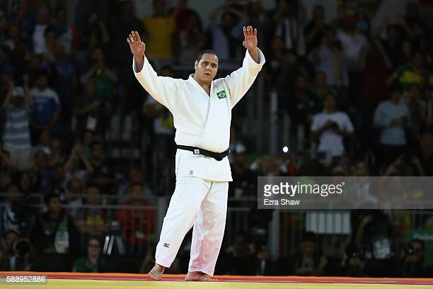 Bronze medalist Rafael Silva of Brazil celebrates after defeating Abdullo Tangriev of Uzbekistan during the Men's +100kg Judo contest on Day 7 of the...