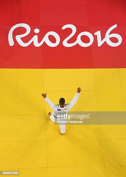 Bronze medalist Rafael Silva of Brazil celebrates after defeating Abdullo Tangriev of Uzbekistan during the Men's 100kg Judo contest on Day 7 of the...