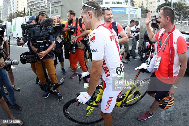 Bronze medalist Rafal Majka of Poland reacts after the Men's Road Race on Day 1 of the Rio 2016 Olympic Games at the Fort Copacabana on August 6,...