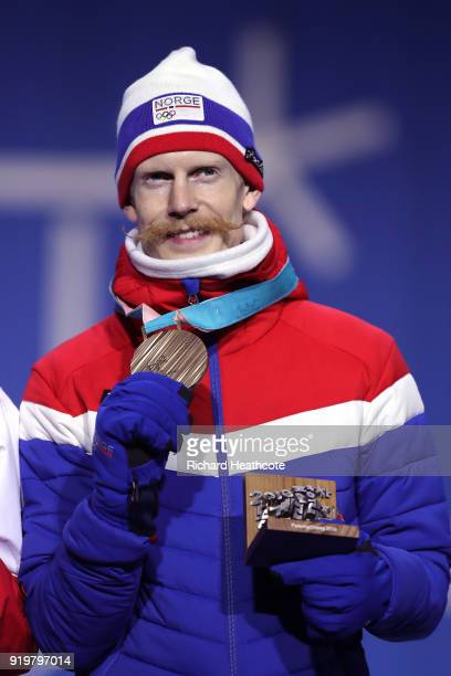 Bronze medalist Robert Johansson of Norway celebrates during the medal ceremony for the Ski Jumping Men's Large Hill on day nine of the PyeongChang...