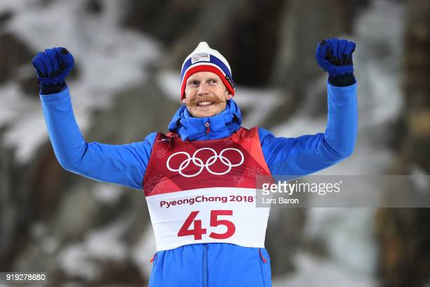 Bronze medalist Robert Johansson of Norway celebrates following the Ski Jumping Men's Large Hill on day eight of the PyeongChang 2018 Winter Olympic...