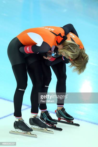Bronze medalist Roman Mulder and gold medalist Michel Mulder of the Netherlands celebrates during the Men's 500 m Race 2 of 2 Speed Skating event...