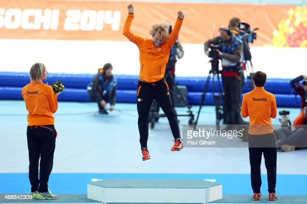 Bronze medalist Ronald Mulder of the Netherlands gold medallist Michel Mulder of the Netherlands and Silver medalist Jan Smeekens of the Netherlands...