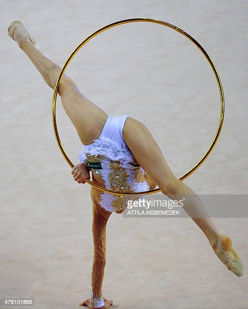 Bronze medalist Russia's Alexandra Soldatova performs her exercise with hoop at the individual final of the Rhythmic Gymnastics World Cup in Debrecen...