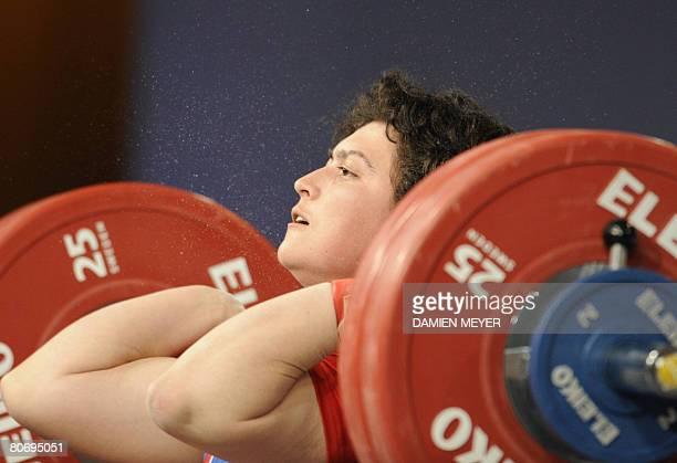 Bronze medalist Russia's Bulgarian Slaveyka Ruzhinska competes in women 69 kg category during 2008 european weightlifting championships in Lignano...