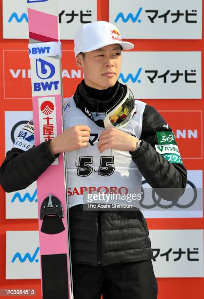 Bronze medalist Ryoyu Kobayashi of Japan attends the medal ceremony on day two of the FIS Ski Jumping World Cup Sapporo at Okurayama Jump Stadium on...