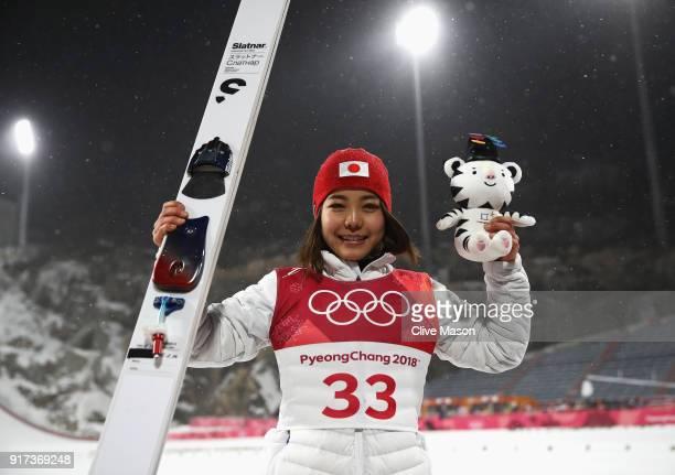 Bronze medalist Sara Takanashi of Japan celebrates after the Ladies' Normal Hill Individual Ski Jumping Final on day three of the PyeongChang 2018...