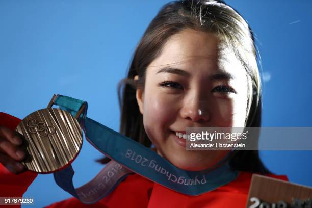 Bronze medalist Sara Takanashi of Japan poses during the medal ceremony Ladies' Normal Hill Individual Ski Jumping on day four of the PyeongChang...