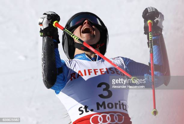 Bronze medalist Sofia Goggia of Italy celebrates as she competes in the Women's Giant Slalom during the FIS Alpine World Ski Championships on...