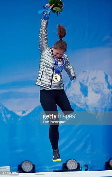 Bronze medalist Solene Stephanie Jallen of USA celebrates during the medal ceremony for the Women's SuperG Visually Impaired during day three of...