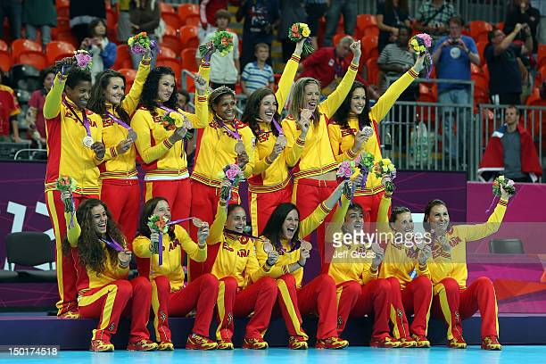 Bronze medalist Spain poses on the podium during the medal ceremony for the Women's Handball Final on Day 15 of the London 2012 Olympics Games at...