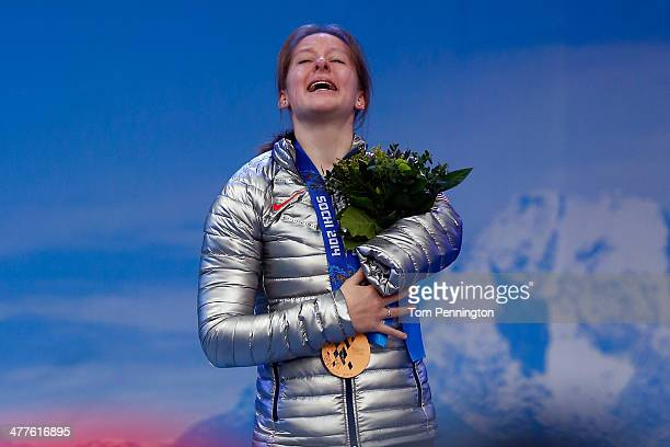 Bronze medalist Stephanie Jallen of USA celebrates during the medal ceremony for the Women's SuperG Standing during day three of Sochi 2014...