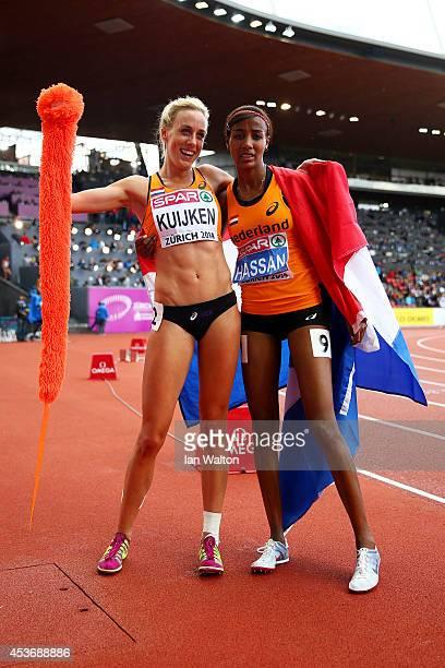 Bronze medalist Susan Kuijken of the Netherlands and silver medalist Sifan Hassan of the Netherlands celebrate after the Women's 5000 metres final...