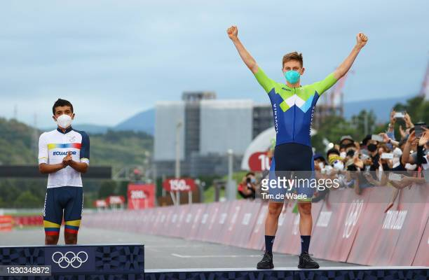 Bronze medalist Tadej Pogacar of Team Slovenia celebrates winning Bronze during the medal ceremony during the Men's road race at the Fuji...