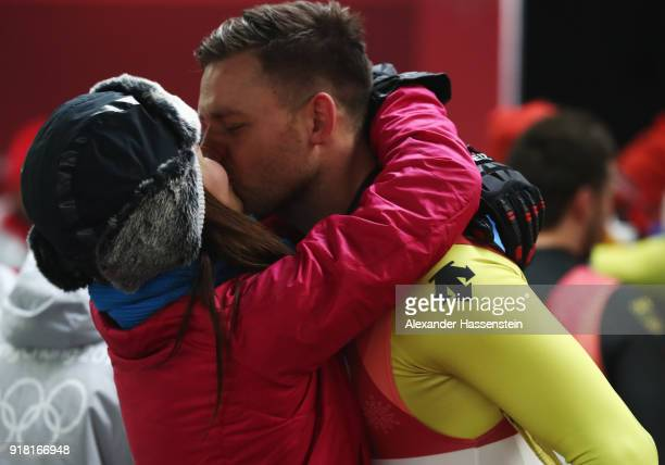 Bronze medalist Toni Eggert of Germany is congratulated by girlfriend Julia Taubitz after the Luge Doubles on day five of the PyeongChang 2018 Winter...