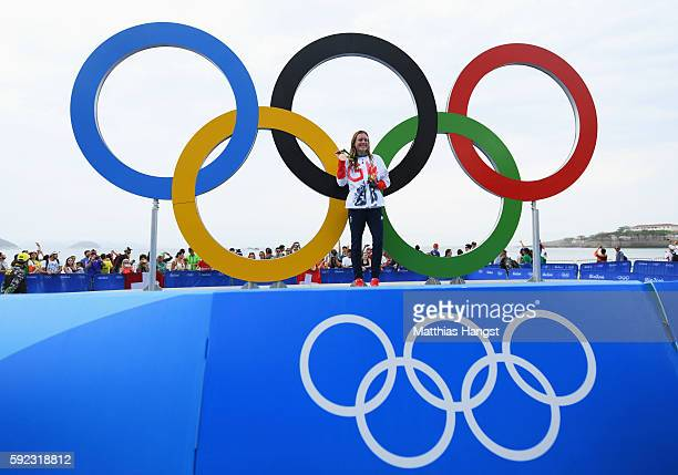 Bronze medalist Vicky Holland of Great Britain poses for a photo during the medal ceremony for the Women's Triathlon on Day 15 of the Rio 2016...
