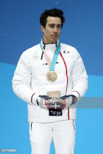 Bronze medalist Victor MuffatJeandet of France poses during the medal ceremony for the Men's Alpine Combined Slalom on day four of the PyeongChang...