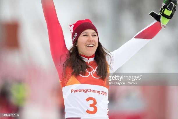 Bronze medalist Wendy Holdener from Switzerland on the podium during the Alpine Skiing Ladies' Alpine Combined Slalom at Jeongseon Alpine Centre on...