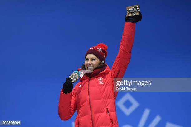 Bronze medalist Wendy Holdener of Switzerland celebrates during the medal ceremony for Alpine Skiing Ladies' Alpine Combined Slalom on day 13 of the...