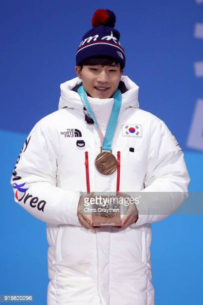 Bronze medalist Yira Seo of Korea celebrates during the medal ceremony for the Short Track Speed Skating Men's 1000m on day nine of the PyeongChang...
