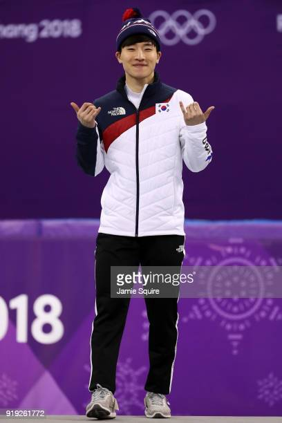 Bronze medalist Yira Seo of Korea celebrates during the victory ceremony after the Short Track Speed Skating Men's 1000m Final A on day eight of the...