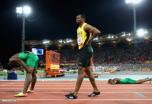 Bronze medalist Yohan Blake of Jamaica looks dejected after the Men's 100 metres final during the Athletics on day five of the Gold Coast 2018...