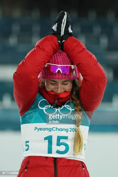 Bronze medalist Yulia Belorukova of Olympic Athlete from Russia celebrates during the victory ceremony for the CrossCountry Ladies' Sprint Classic...