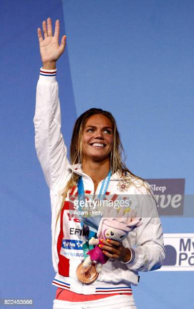 Bronze medalist Yuliya Efimova of Russia poses with the medal won during the Women's 100m Breaststroke final on day twelve of the Budapest 2017 FINA...
