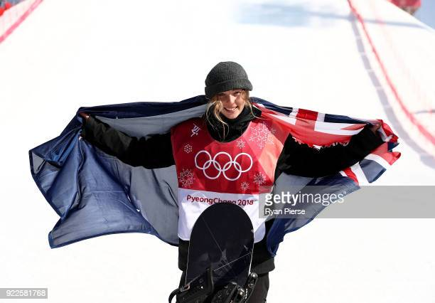 Bronze medalist Zoi Sadowski Synnott of New Zealand celebrates poses after the victory ceremony after the Snowboard Ladies' Big Air Final on day 13...