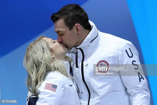 Bronze medalists Alexa Scimeca Knierim and Chris Knierim of Team United States celebrate during the victory ceremony after the Figure Skating Team...