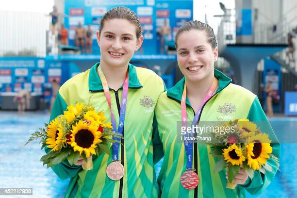Bronze medalists Anabelle Smith and Maddison Keeney of Australia celebrate after the medal ceremony for the Women's 3m Springboard Synchro Final...
