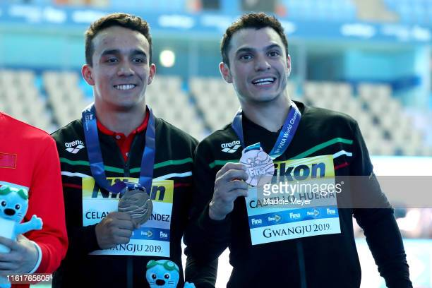 Bronze medalists and Juan Manuel Celaya Hernandez and Yahel Castillo Huerta of Mexico pose during the medal ceremony for the Men's 3m Synchro...