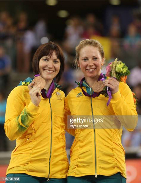 Bronze medalists Anna Meares and Kaarle Mcculloch of Australia pose with their medals during the medal ceremony for the Women's Team Sprint Track...