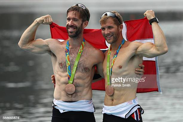 Bronze medalists Are Strandli and Kristoffer Brun of Norway pose for photographs after at the medal ceremony for the Lightweight Men's Double Sculls...