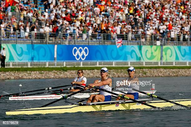Bronze medalists Elise Laverick and Anna Bebington of Great Britain in action during the Women's Double Sculls Final at the Shunyi Olympic...