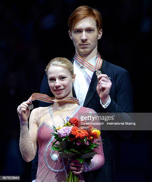 Bronze medalists Evgenia Tarasova and Vladimir Morozov of Russia pose during the medal ceremony of Pairs Skating on day four of the ISU European...