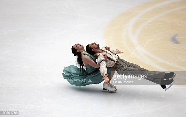 Bronze medalists Federica Faiella and Massimo Scali of Italy skate in the Ice Dancing Free Dance during the Cup of China ISU Grand Prix of Figure...