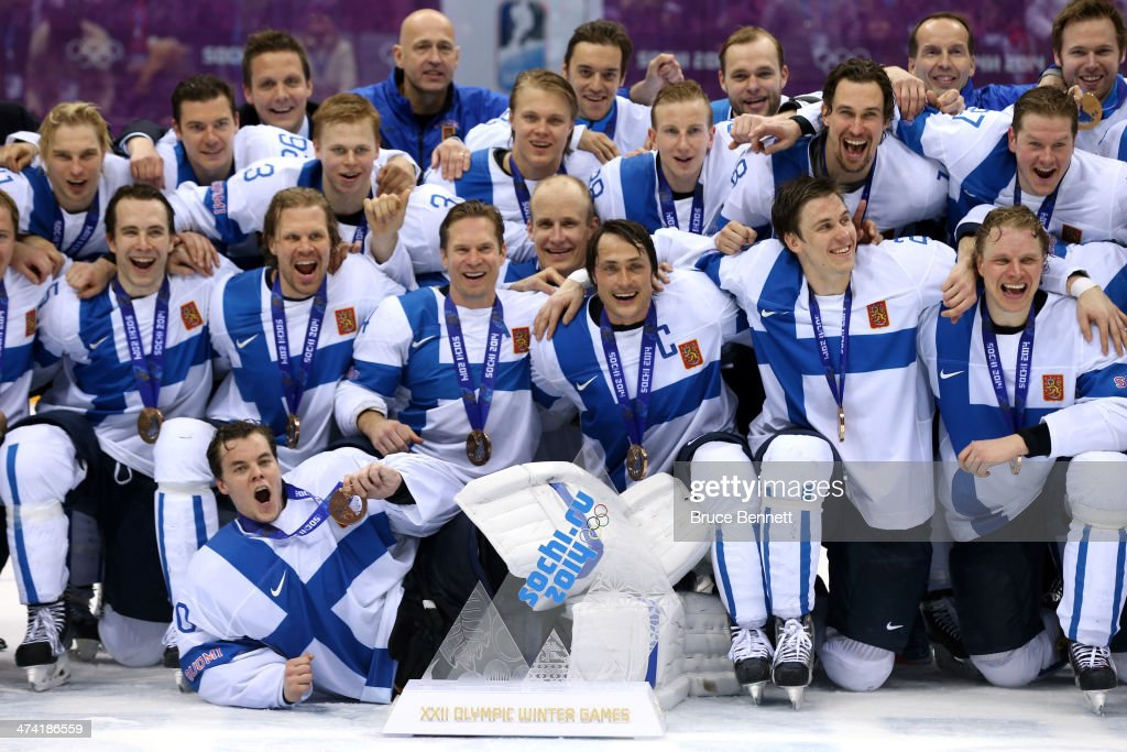 Bronze medalists Finland celebrate after defeating the United States 5-0 during the Men's Ice Hockey Bronze Medal Game on Day 15 of the 2014 Sochi Winter Olympics at Bolshoy Ice Dome on February 22, 2014 in Sochi, Russia.