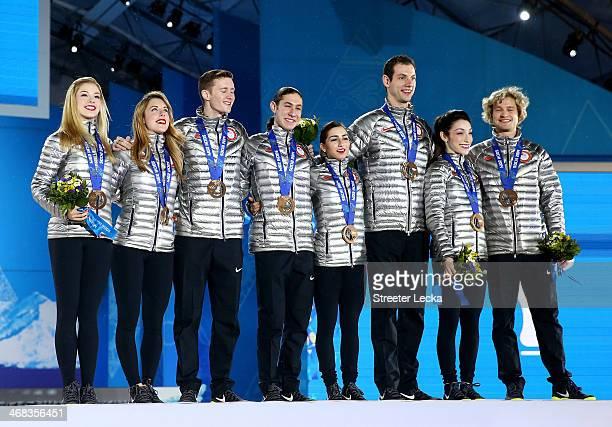 Bronze medalists Gracie Gold Ashley Wagner Jeremy Abbott Jason Brown Maria Castelli Simon Shnapir Meryl Davis and Charlie White of the United States...