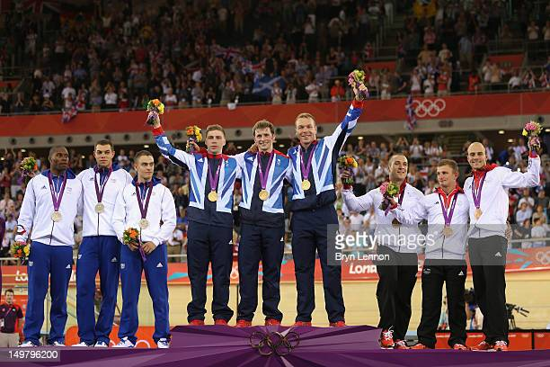 Bronze medalists Gregory Bauge, Kevin Sireau and Michael D'Almeida of France, gold medalists Philip Hindes, Jason Kenny and Sir Chris Hoy of Great...