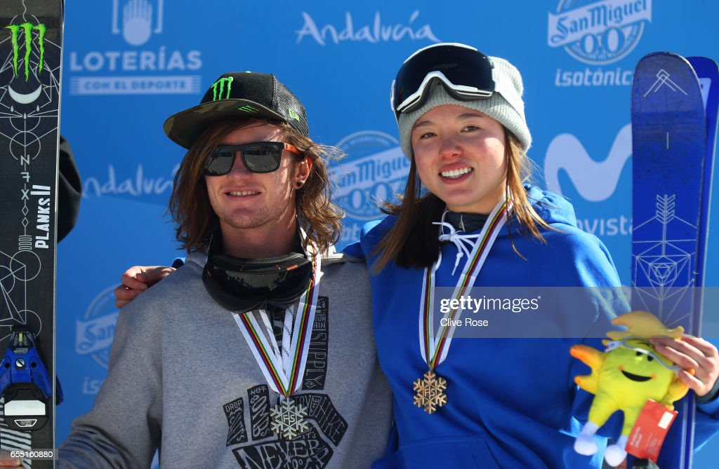Bronze medalists James Woods of Great Britain and Isabel Atkin of Great Britain pose during the medal cermony for the Slopestyle finals on day twelve of the FIS Freestyle Ski & Snowboard World Championships 2017 on March 19, 2017 in Sierra Nevada, Spain.