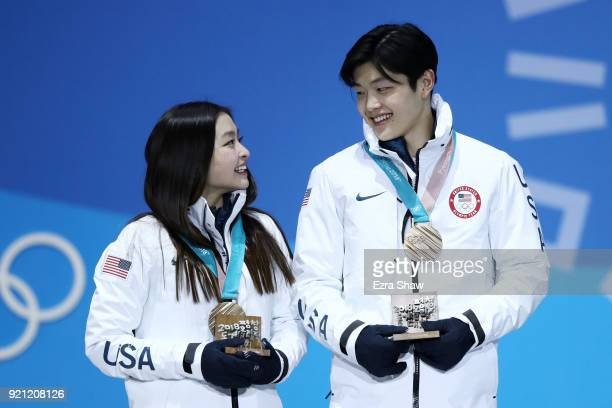 Bronze medalists Maia Shibutani and Alex Shibutani of the United States celebrate during the medal ceremony for Figure Skating Ice Dance Free Dance...